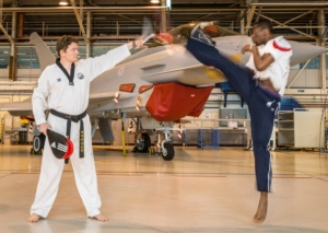 Lutalo Muhammad, Olympic bronze taekwondo medallist with Michael Singleton, BAE Systems engineer.